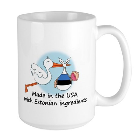Stork Baby Estonia USA Large Mug