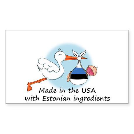 Stork Baby Estonia USA Sticker (Rectangle)