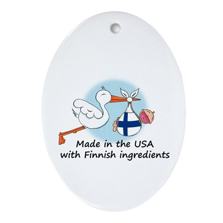 Stork Baby Finland USA Ornament (Oval)