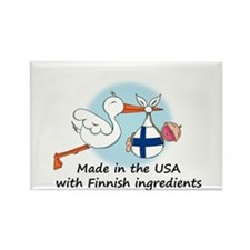 Stork Baby Finland USA Rectangle Magnet