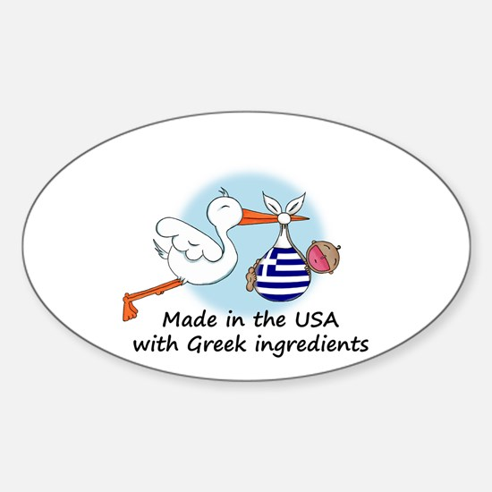 Stork Baby Greece USA Sticker (Oval)