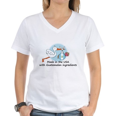 Stork Baby Guatemala USA Women's V-Neck T-Shirt