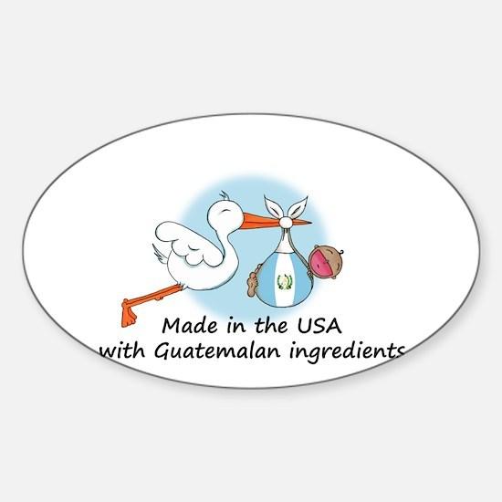 Stork Baby Guatemala USA Sticker (Oval)