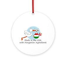 Stork Baby Hungary USA Ornament (Round)