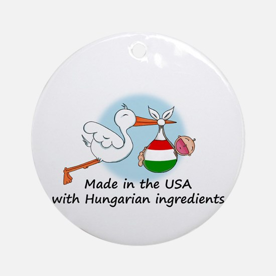 Stork Baby Hungary USA Ornament (Round)