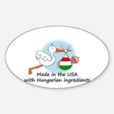 Stork Baby Hungary USA Sticker (Oval)