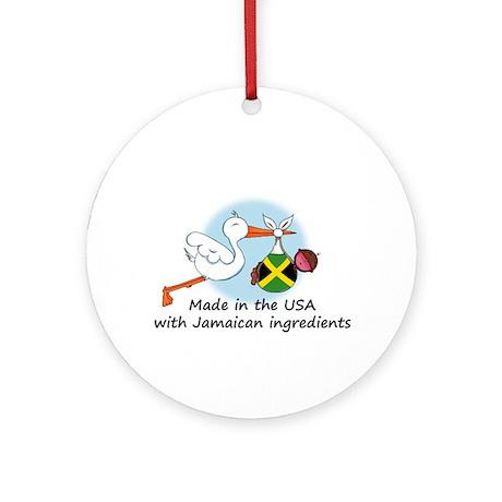 Stork Baby Jamaica USA Ornament (Round)