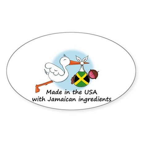 Stork Baby Jamaica USA Sticker (Oval)