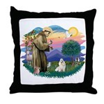 St Francis #2 / Havanese (w) Throw Pillow