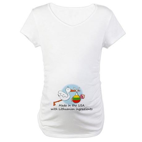 Stork Baby Lithuania USA Maternity T-Shirt