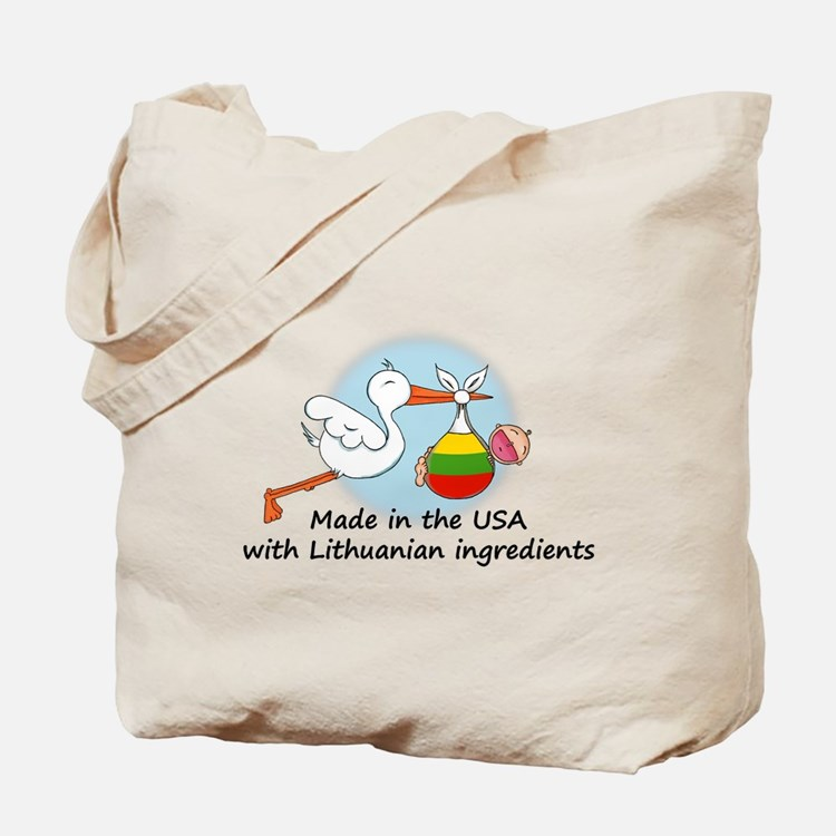 Stork Baby Lithuania USA Tote Bag