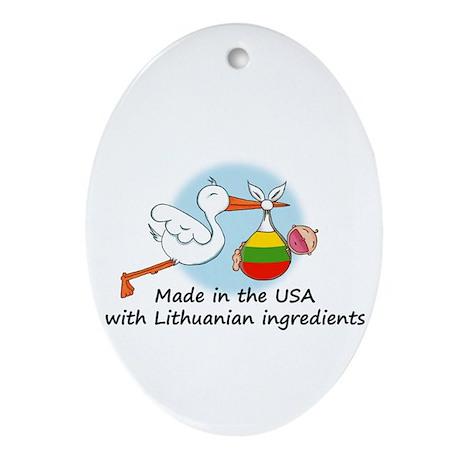 Stork Baby Lithuania USA Ornament (Oval)