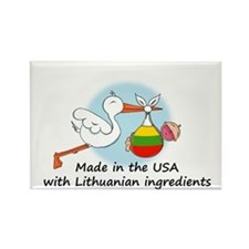 Stork Baby Lithuania USA Rectangle Magnet