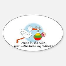 Stork Baby Lithuania USA Sticker (Oval)