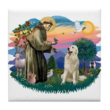 St. Fran #2/ Great Pyrenees #1 Tile Coaster