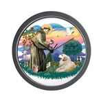 St. Fran #2/ Great Pyrenees (#2) Wall Clock
