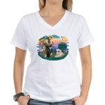 St. Fran #2/ Great Pyrenees (#2) Women's V-Neck T-