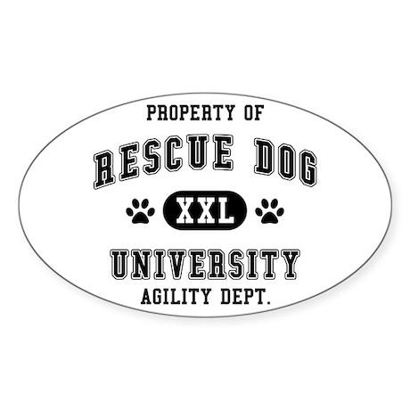 Property of Rescue Dog Univ. Sticker (Oval)