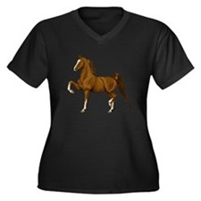 Cute American saddlebred Women's Plus Size V-Neck Dark T-Shirt