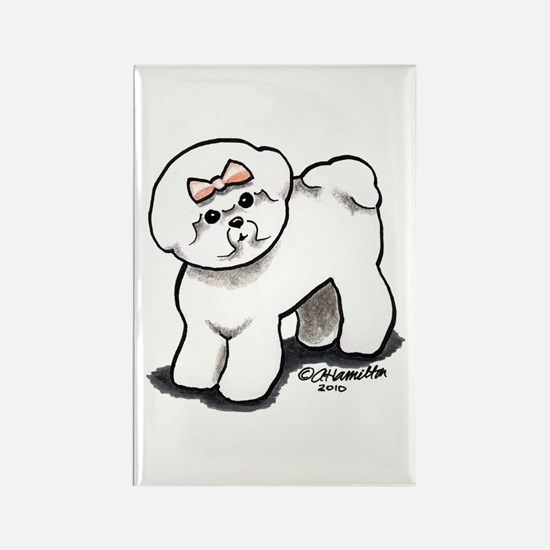 Girly Bichon Frise Rectangle Magnet (10 pack)