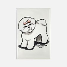 Girly Bichon Frise Rectangle Magnet (100 pack)