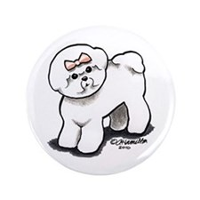 "Girly Bichon Frise 3.5"" Button"