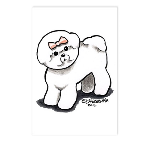 Girly Bichon Frise Postcards (Package of 8)