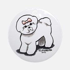 Girly Bichon Frise Ornament (Round)