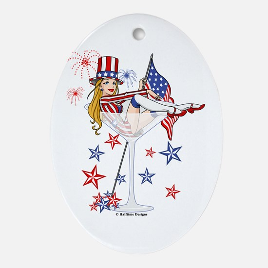 4th of July Martini Girl Ornament (Oval)