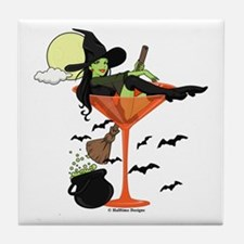 Halloween Martini Girl Tile Coaster