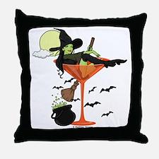 Halloween Martini Girl Throw Pillow