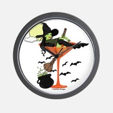 Halloween Martini Girl Wall Clock