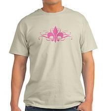 Pink Fleur De Lis With Swirls T-Shirt