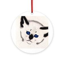Siamese Cat Art Ornament (Round)