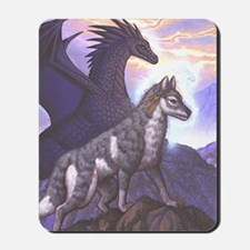 Let Me Help Dragon and Wolf Mousepad