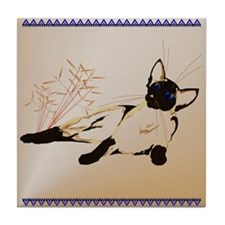 Laid Back Siamese with Leaves Tile Coaster
