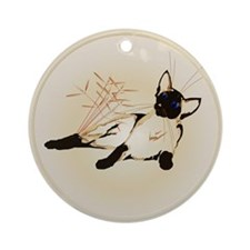 Laid Back Siamese with Leaves Ornament (Round)