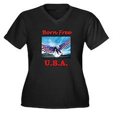 Born free USA Eagle Women's Plus Size V-Neck Dark