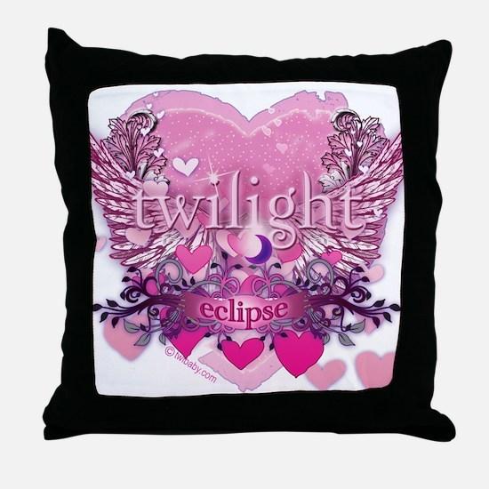 Twilight Eclipse Pink Heart Throw Pillow