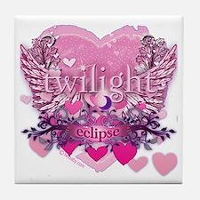 Twilight Eclipse Pink Heart Tile Coaster
