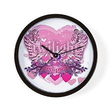 Twilight Eclipse Pink Heart Wall Clock