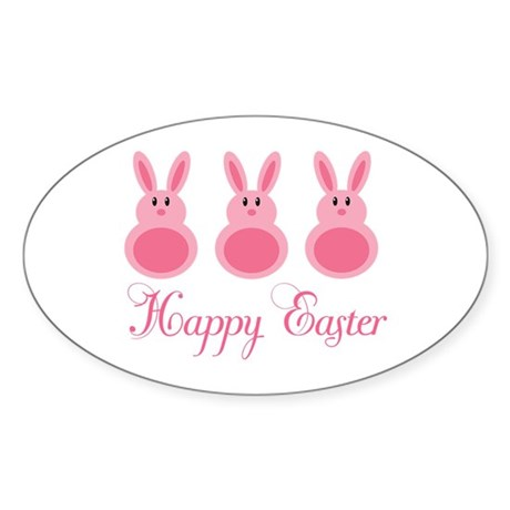 Pink Happy Easter Sticker (Oval)