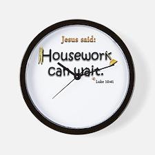 Jesus Said Housework Can Wait Wall Clock