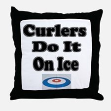 Curlers Do It On Ice Throw Pillow