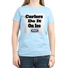 Curlers Do It On Ice Women's Pink T-Shirt