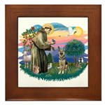 St. Fran #2/ German Shepherd (P) Framed Tile