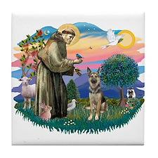St. Fran #2/ German Shepherd (P) Tile Coaster