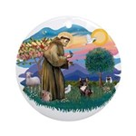 St Francis #2/ Fr Bulldog (brin) Ornament (Round)