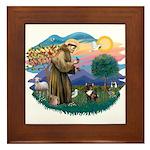 St Francis #2/ Fr Bulldog (brin) Framed Tile