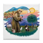 St Francis #2/ Fr Bulldog (brin) Tile Coaster